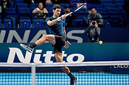 Novak Djokovic of Serbia football kicks the ball during the practice session ahead of his finals match during the Nitto ATP Tour Finals at the O2 Arena, London, United Kingdom on 18 November 2018. Photo by Martin Cole