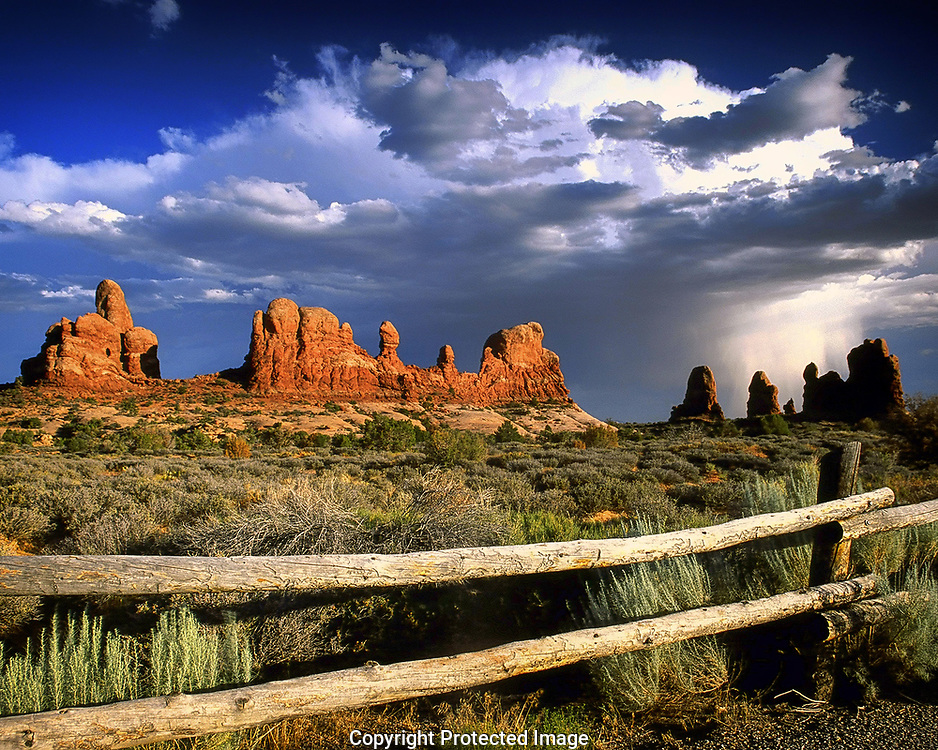 Summer thunderstorm near the Windows section of Arches National Park, Utah.
