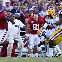 November 6, 2010; Baton Rouge, LA, USA;  Alabama Crimson Tide wide receiver Julio Jones (8) runs after a catch during the second half against the LSU Tigers at Tiger Stadium. LSU defeated Alabama 24-21.  Mandatory Credit: Derick E. Hingle