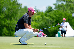 May 12, 2019 - Dallas, TX, U.S. - DALLAS, TX - MAY 12: Scott Piercy lines up his putt on #4 during the final round of the AT&T Byron Nelson on May 12, 2019 at Trinity Forest Golf Club in Dallas, TX. (Photo by Andrew Dieb/Icon Sportswire) (Credit Image: © Andrew Dieb/Icon SMI via ZUMA Press)