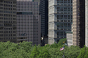Cityscape of skyscrapers looking across Broadway in Manhattan, New York City.