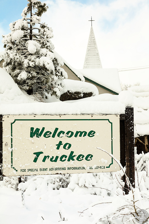 """""""Welcome to Snowy Truckee 2"""" - Photograph of a snowy Welcome to Truckee sign, shot in the morning after a big snow storm."""