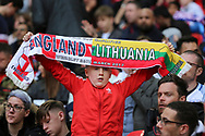 England fan with scarf during the FIFA World Cup Qualifier group stage match between England and Lithuania at Wembley Stadium, London, England on 26 March 2017. Photo by Matthew Redman.
