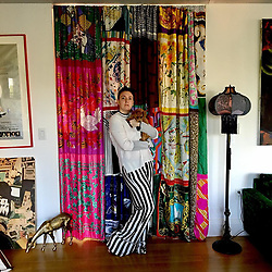 """Lena Dunham releases a photo on Instagram with the following caption: """"Home getting a little pick me up thanks to custom curtain by @greer_lankton_archives_museum \u0026 lamp by @amtendler \ud83d\udda4 It's more important than ever to feel safe and actualized where you live. The poodles agree."""". Photo Credit: Instagram *** No USA Distribution *** For Editorial Use Only *** Not to be Published in Books or Photo Books ***  Please note: Fees charged by the agency are for the agency's services only, and do not, nor are they intended to, convey to the user any ownership of Copyright or License in the material. The agency does not claim any ownership including but not limited to Copyright or License in the attached material. By publishing this material you expressly agree to indemnify and to hold the agency and its directors, shareholders and employees harmless from any loss, claims, damages, demands, expenses (including legal fees), or any causes of action or allegation against the agency arising out of or connected in any way with publication of the material."""