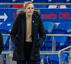 CARDIFF, WALES - Tuesday, April 13, 2021: Wales' head coach Gemma Grainger during a Women's International Friendly match between Wales and Denmark at the Cardiff City Stadium. (Pic by David Rawcliffe/Propaganda)