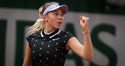 May 30, 2019 - Paris, FRANCE - Amanda Anisimova of the United States in action during her second-round match at the 2019 Roland Garros Grand Slam tennis tournament (Credit Image: © AFP7 via ZUMA Wire)