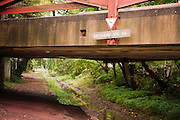Mechanic Street bridge over the towpath where mules pull barges in the spring and summer along the Delaware Canal,New Hope,Bucks County,Pennsylvania