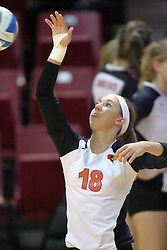13 October 2011: Kaitlyn Early practices her hits during an NCAA volleyball match between the Indiana State Sycamores and the Illinois State Redbirds at Redbird Arena in Normal Illinois.