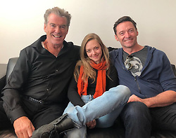 """Hugh Jackman releases a photo on Instagram with the following caption: """"Our daughter.\n@mingey @piercebrosnanofficial"""". Photo Credit: Instagram *** No USA Distribution *** For Editorial Use Only *** Not to be Published in Books or Photo Books ***  Please note: Fees charged by the agency are for the agency's services only, and do not, nor are they intended to, convey to the user any ownership of Copyright or License in the material. The agency does not claim any ownership including but not limited to Copyright or License in the attached material. By publishing this material you expressly agree to indemnify and to hold the agency and its directors, shareholders and employees harmless from any loss, claims, damages, demands, expenses (including legal fees), or any causes of action or allegation against the agency arising out of or connected in any way with publication of the material."""