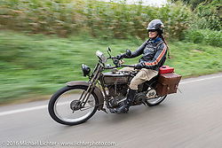 "Cris Sommer Simmons of Hawaii riding ""Effie"", her 1915 Harley-Davidson during the Motorcycle Cannonball Race of the Century. Stage-1 from Atlantic City, NJ to York, PA. USA. Saturday September 10, 2016. Photography ©2016 Michael Lichter."