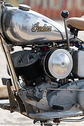 Matt Blake's Iron Horse Corral 1948 Indian Scout in the RSD Moto Beach Classic custom bike show. Huntington Beach, CA, USA. Sunday October 28, 2018. Photography ©2018 Michael Lichter.