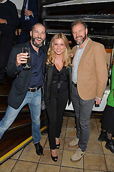 Left to right, FRED SIRIEIX, ZARA HOLLAND and CHRIS GALVIN at a party hosted by Fred Sirieix, Maître d' on Channel 4's 'First Dates' at his favourite Spanish restaurant, El Pirata, 5-6 Down Street, London to celebrate the publication of his new book 'First Dates: The Art of Love' on 10th October 2016.