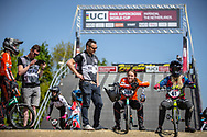 #388 (BAAUW Judy) NED and #61 (VEENSTRA Manon) NED during practice of Round 3 at the 2018 UCI BMX Superscross World Cup in Papendal, The Netherlands
