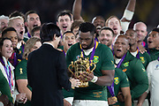 Siya Kolisi (captain) of South Africa receives the cup after the Rugby World Cup  final match between England and South Africa at the International Stadium ,  Saturday, Nov. 2, 2019, in Yokohama, Japan. South Africa defeated England 32-12. (Florencia Tan Jun/ESPA-Image of Sport)