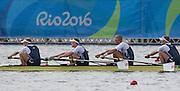 "Rio de Janeiro. BRAZIL.  GBR M4-, Bow Alex GREGORY, Mohamed SBIHI, George NASH and Constantine LOULOUDIS. 2016 Olympic Rowing Regatta. Lagoa Stadium,<br /> Copacabana,  ""Olympic Summer Games""<br /> Rodrigo de Freitas Lagoon, Lagoa. Local Time 09:46:10  Thursday  11/08/2016 <br /> [Mandatory Credit; Peter SPURRIER/Intersport Images]"