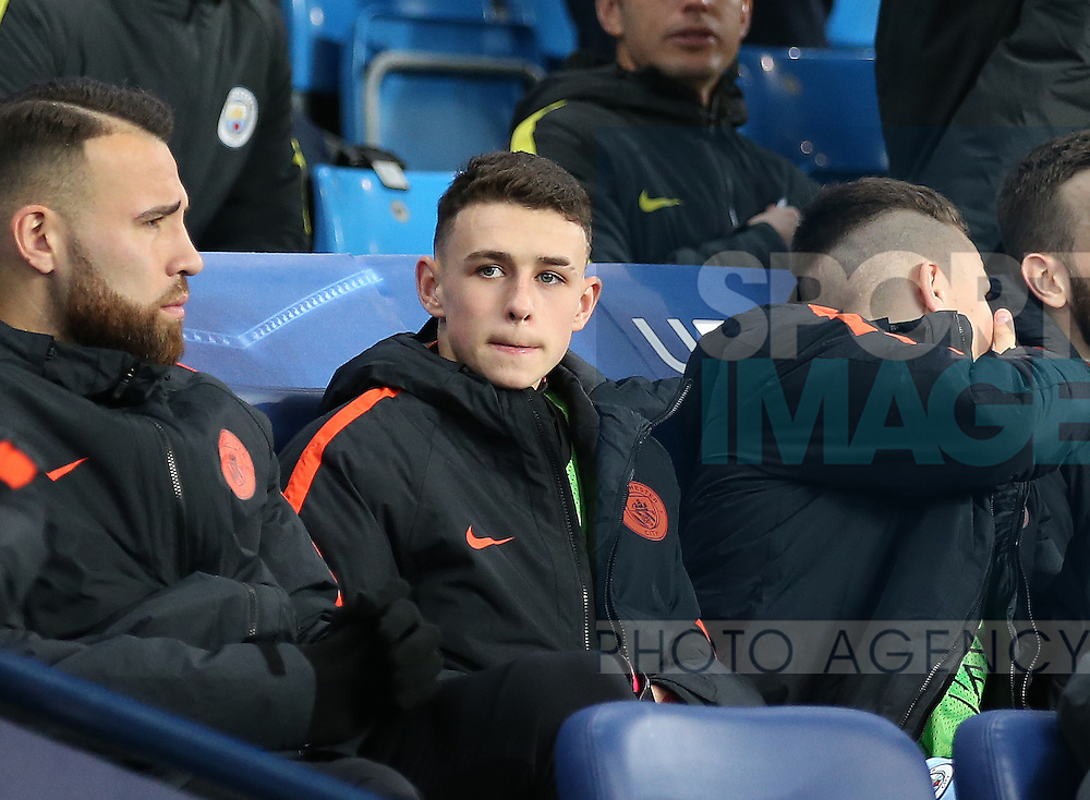 Phil Foden of Manchester City (c) named on the bench at just 16 years old during the Champions League Group C match at the Etihad Stadium, Manchester. Picture date: December 6th, 2016. Pic Simon Bellis/Sportimage