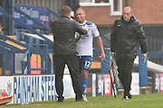 Bury Manger, David Flitcroft  and Bury Forward, James Vaughan (12) during the EFL Sky Bet League 1 match between Bury and Port Vale at the JD Stadium, Bury, England on 3 September 2016. Photo by Mark Pollitt.