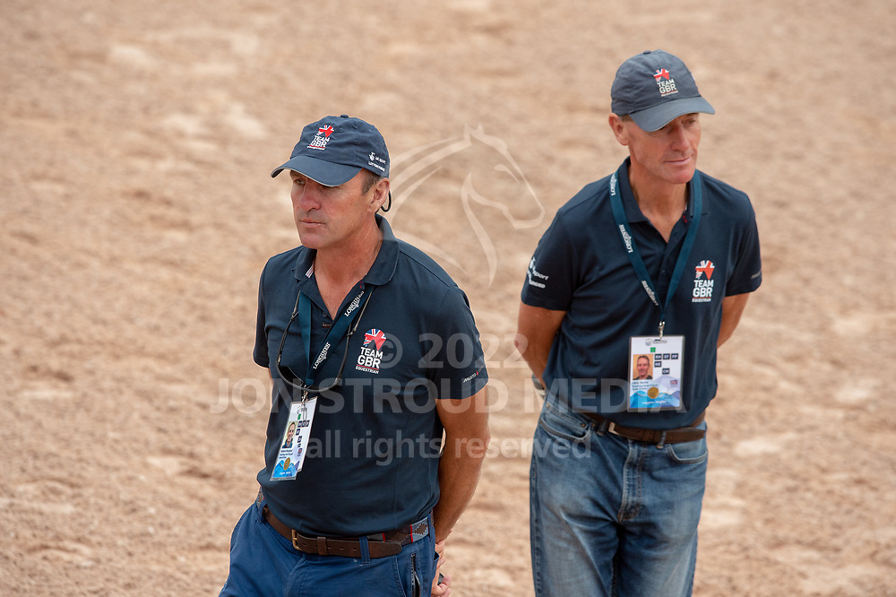 Christ Bartle and Richard Waygood assist Gemma Tattersall in the warm up - Eventing Dressage - FEI World Equestrian Games™ Tryon 2018 - Tryon, North Carolina, USA - 13 September 2018