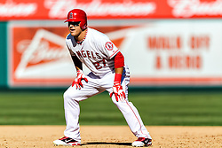 ANAHEIM, California/USA (Thursday, September 27, 2012) -  Los Angeles Angels centerfielder Mike Trout #27 plays during the Mariners vs. Angels game held at the Angels  Stadium. The Angels lost 9-4. Byline and/or web usage link must read PHOTO © Eduardo E. Silva/SILVEX.PHOTOSHELTER.COM.