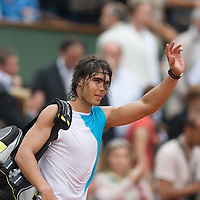 08 June 2007: Rafael Nadal thanks the audience during the French Tennis Open semi final won 7-5, 6-4, 6-2, by Rafael Nadal over Novak Djokovic on day 13 at Roland Garros, in Paris, France.