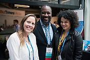Laura Kaiser from the Wisconsin Technology Council,  Elmer Moore from Scale Up Milwaukee, and Mallory Davis from ScaleUp at the Wisconsin Entrepreneurship Conference at Venue 42 in Milwaukee, Wisconsin, Tuesday, June 4, 2019.