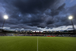 general view, dark clouds, flood lights, stand, artificial grass during the Dutch Eredivisie match between Sparta Rotterdam and AZ Alkmaar at the Sparta stadium Het Kasteel on September 15, 2017 in Rotterdam, The Netherlands
