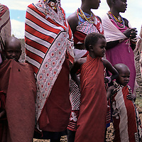 Africa, Kenya, Maasai Mara. Women and children of the Mara.