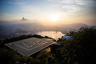The helipad at Morro da Urca which is used for sightseeing tours of Rio de Janeiro. Scenes from Rio de Janeiro on the day that Brazil drew 0-0 with Mexico. Photo by Andrew Tobin/Tobinators Ltd