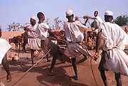 Life in the Sahel region of northern Nigeria, west Africa, early 1980s - men drawing water from a well