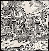 Rag-and-chain pump being used to raise water from a mine.   From 'De re metallica', by Agricola, pseudonym of Georg Bauer (Basle, 1556).  Woodcut.