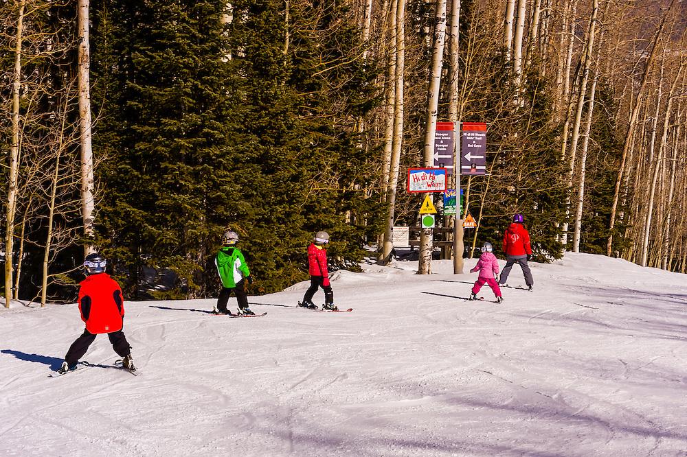 Ski school, Snowmass (Aspen) ski resort, Snowmass Village, Colorado USA.