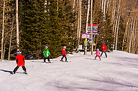 Ski school, Snowmass (Aspen) ski resort, Snowmass Village, Colorado USA.