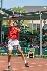 April 11, 2018 - Houston, TX, U.S. - HOUSTON, TX - APRIL 11: Ivo Karlovic (CRO) hits a hard overhead during his match against Denis Kudla (USA) during the 2018 US Men's Clay Court Tennis Championships on April 11, 2018 at River Oaks Country Club, Houston, Texas. (Photo by Ken Murray/Icon Sportswire) (Credit Image: © Ken Murray/Icon SMI via ZUMA Press)