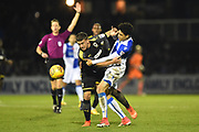 Cody McDonald (10) of AFC Wimbledon clashed with Daniel Leadbitter (2) of Bristol Rovers during the EFL Sky Bet League 1 match between Bristol Rovers and AFC Wimbledon at the Memorial Stadium, Bristol, England on 18 November 2017. Photo by Graham Hunt.