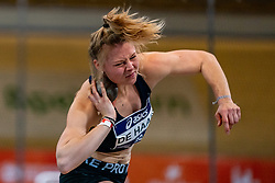 Melissa de Haan in action on shot put during the Dutch Athletics Championships on 14 February 2021 in Apeldoorn