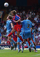 Photo: Olly Greenwood.<br />Crystal Palace v Coventry City. Coca Cola Championship. 23/09/2006. Palace's Matt Lawrence (C) and Coventry's Marcus Hall (R) and Jay Tabb.