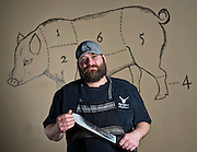 Editorial photography of chef Rob Nelson, owner of Tusk & Trotter in Bentonville, Arkansas.