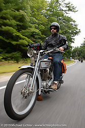 Bret Yeager on his 1914 Harley-Davidson after leaving Harley-Davidson of Rochester, New Hampshire for a hosted lunch during the Motorcycle Cannonball coast to coast vintage run. Stage-1 (145-miles) from Portland, Maine to Keene, NH. Saturday September 8, 2018. Photography ©2018 Michael Lichter.