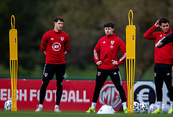 CARDIFF, WALES - Monday, March 29, 2021: Wales' James Lawrence (L) and Neco Williams during a training session at the Vale Resort ahead of the FIFA World Cup Qatar 2022 Qualifying Group E game against the Czech Republic. (Pic by David Rawcliffe/Propaganda)