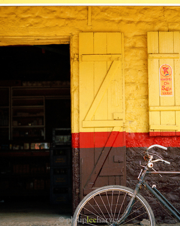 Village shop and bicycle, Mauritius