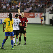 U.S. midfielder Carli Lloyd (10) receives a red card for a foul during a women's soccer International friendly match between Brazil and the United States National Team, at the Florida Citrus Bowl  on Sunday, November 10, 2013 in Orlando, Florida. The U.S won the game by a score of 4-1.  (AP Photo/Alex Menendez)