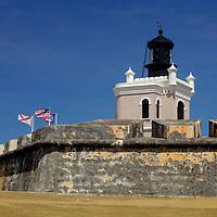 USA, Puerto Rico, San Juan. Lighthouse at El Morro Fort, a UNESCO World Heritage Site.