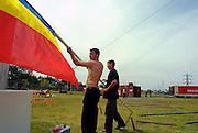 Bellucci Circus performed in Tel Aviv, Israel in April Erecting the circus tent