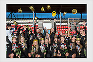 PK-35 celebrates the Finnish Women's League title. Vantaa, October 8, 2016.