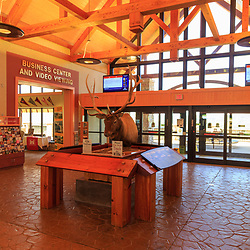 Tioga, PA - July 26, 2016: The interior lobby area at the Pennsylvania Welcome Center on Route 15, about seven miles from the NY-PA Border.