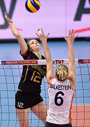 04-01-2016 TUR: European Olympic Qualification Tournament Nederland - Duitsland, Ankara <br /> De Nederlandse volleybalvrouwen hebben de eerste wedstrijd van het olympisch kwalificatietoernooi in Ankara niet kunnen winnen. Duitsland was met 3-2 te sterk (28-26, 22-25, 22-25, 25-20, 11-15) / Heike Beier #12 of Germany, Maret Balkestein-Grothues #6