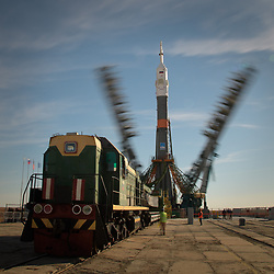 October 9, 2018 - Baikonur, Kazakhstan - The gantry arms are seen closing around the Soyuz rocket in this long exposure photograph, Tuesday, Oct. 9, 2018 at the Baikonur Cosmodrome in Kazakhstan. Expedition 57 crewmembers Nick Hague of NASA and Alexey Ovchinin of Roscosmos are scheduled to launch on October 11 and will spend the next six months living and working aboard the International Space Station. (Credit Image: ? Bill Ingalls/NASA via ZUMA Wire/ZUMAPRESS.com)