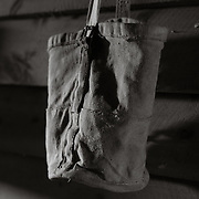 Pony feed bag in stable