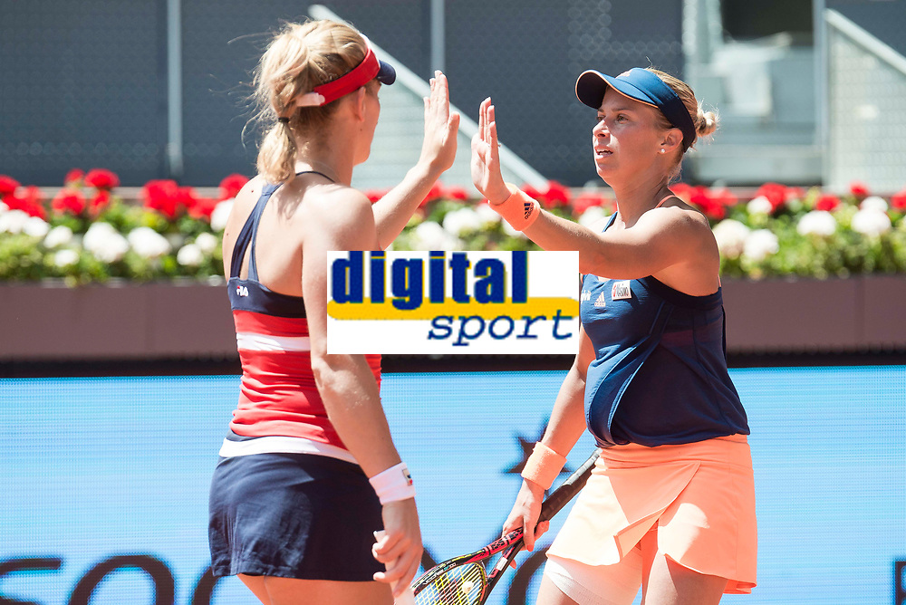 Hungarian Timea Babos and Czech Andrea Hlavackova during Mutua Madrid Open Sub16 Tennis 2017 at Caja Magica in Madrid, May 13, 2017. Spain.<br /> (ALTERPHOTOS/BorjaB.Hojas)