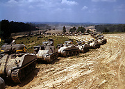 Line of M4 (Sherman) tanks, Fort Knox, Kentucky, USA, June 1942.  In excess of 50,000 Medium Tank M4 with gun mounted on revolving turret were produced in Word War II.  Armament Vehicle Armoured American
